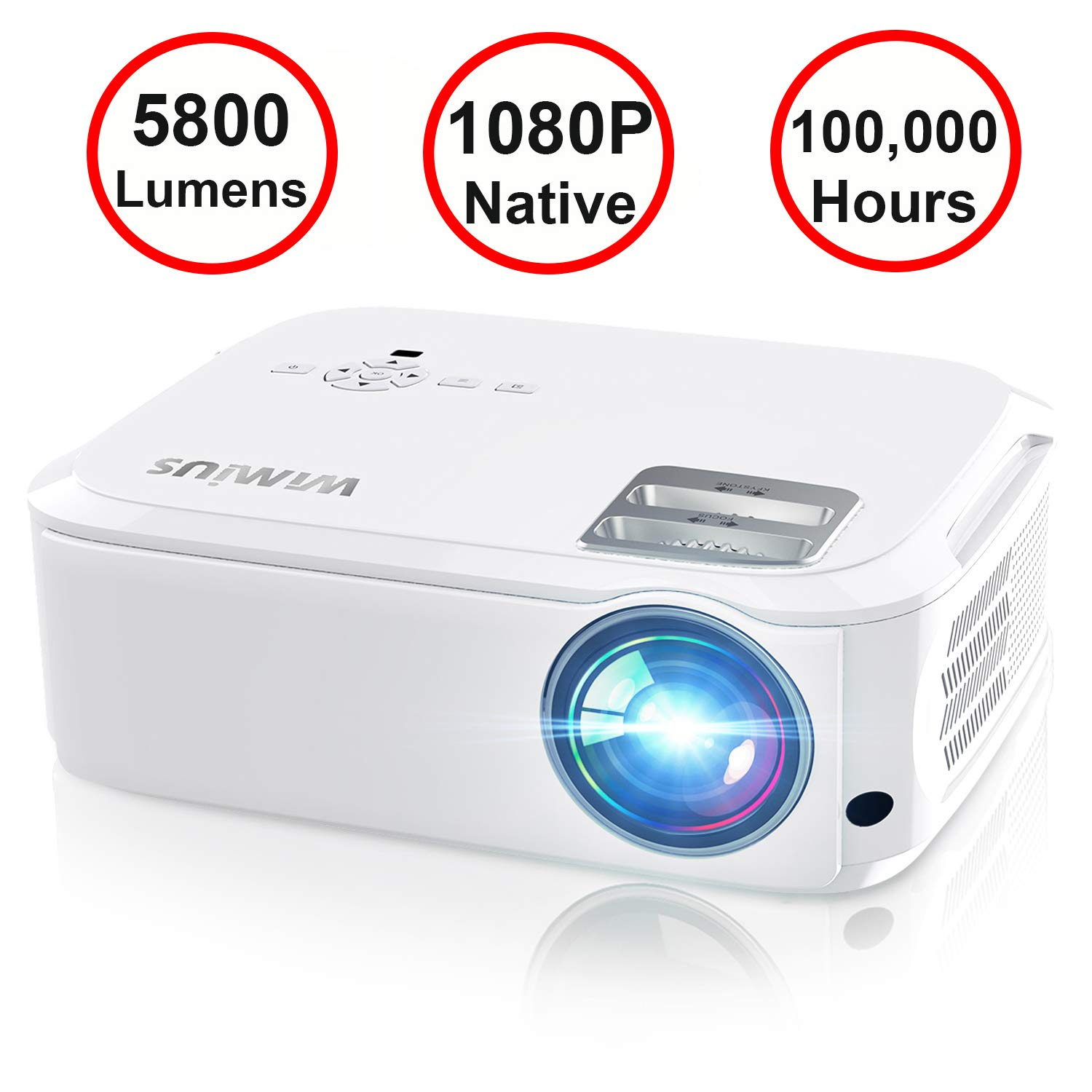 Projector, WiMiUS P21 5800 Lumens Video Projector Native 1080P LED Projector Support 4K Zoom 300'' Display 100,000H Lamp Compatible with Fire TV Stick Laptop Phone Xbox PS4 Power Point Presentation by WiMiUS