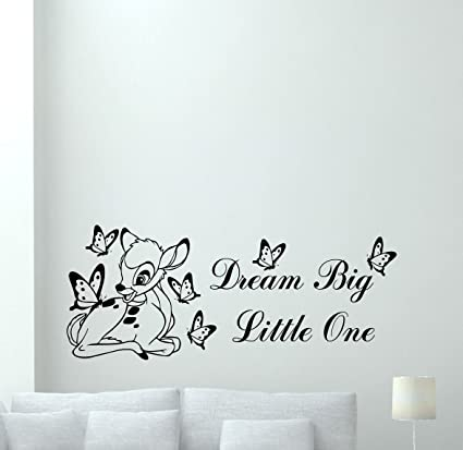 Bambi Disney Wall Decal Dream Big Little One Quote Cartoon Butterflies  Poster Vinyl Sticker Kids Teen