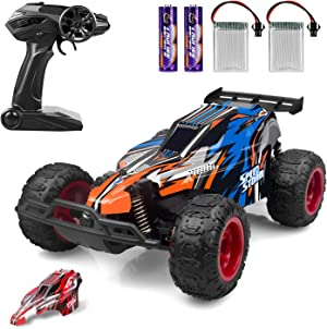 JEYPOD Remote Control Car, 2.4 GHZ High Speed Racing Car with 4 Batteries
