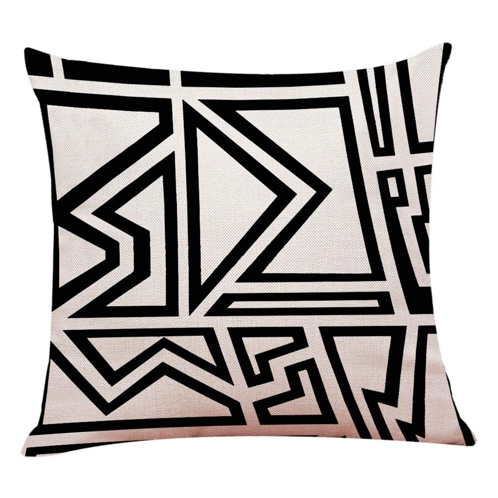Modern Throw Pillow Cover Minimalism Geometric Theme Series Printing Pillow Case 18x18 inch Linen Blend Square Throw Cushion Cover for Sofa Bedroom Car Decor (E)