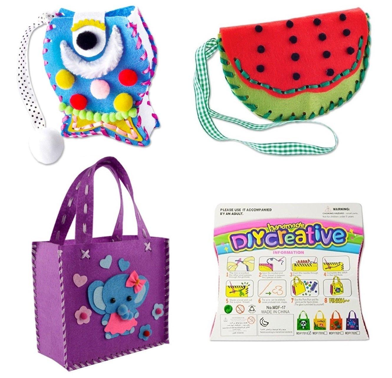 TikTok Direct Beginner Sewing Kit for Kids 3Pack Girls Sewing Project DIY Art Kit (Bag Pattern 1)