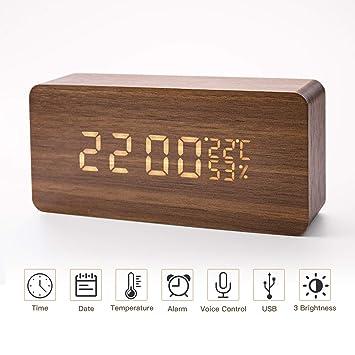 LED Reloj despertador digital de madera Relojes USB 3 Niveles Brillo ajustable Voz Touch Activado Mostrar
