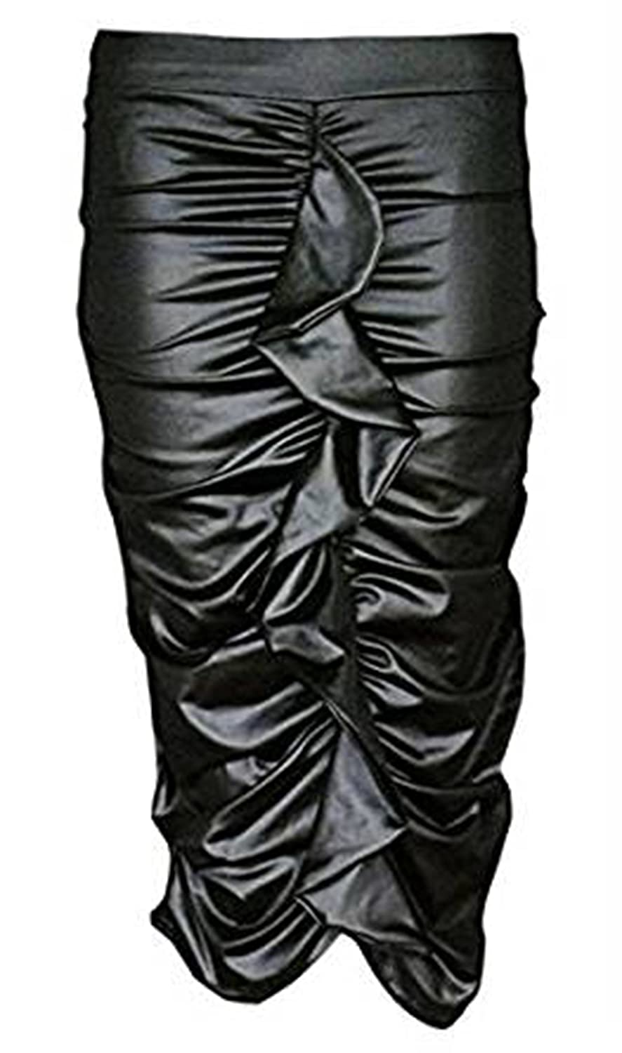 New Ladies Celeb Inspired Ruched Frill Pencil Bodycon PU Wet Look Ruffle Skirt