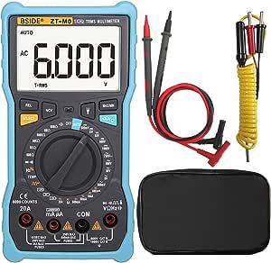 Bside ZT-M0 Electricians Digital Multimeter Manual & Smart Mode Design True RMS 6000 Counts Auto-Ranging Voltmeter Temperature Capacitance AC/DC Current Voltage Battery Tester with Flashlight