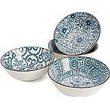 Ramen Bowl 40 Ounce Porcelain Bowls for Cereal, Salad, Soup, Pho, Dessert - Set of 4, Microwave Safe, Stackable, Blue…