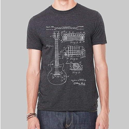 fc20e18c Amazon.com: Mens Graphic Tees Gibson Guitar Patent Tshirt Screen Print Tee  5 Colors: Handmade