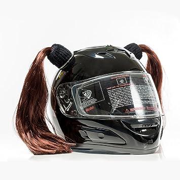 Casco de motocicleta con coletas