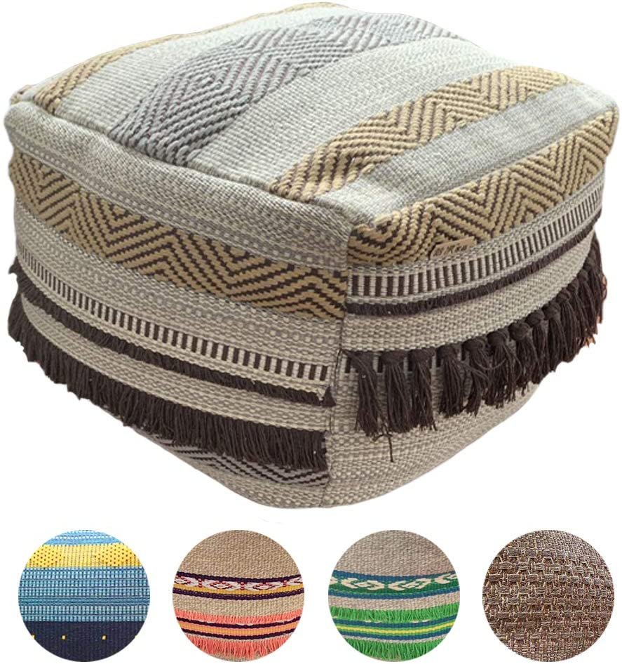 HIGOGOGO Pouf Cover, Unstuffed Boho Ottoman with Tassels Handmade Woven Foot Stool Soft Cotton Linen Footrest Square Floor Cushion Unfilled Pouf for Living Room Home Chair, Coffee, 16.5