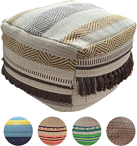 HIGOGOGO Pouf Cover, Unstuffed Boho Ottoman with Tassels Handmade Woven Foot Stool Soft Cotton Linen Footrest Square Floor Cushion Unfilled Pouf for Living Room Home Chair, Coffee, 16.5 x16.5 x12.9