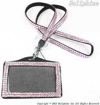 Lanyard NOT included Wholesale Bulk Rhinestone Bling Horizontal ID Badge Holder