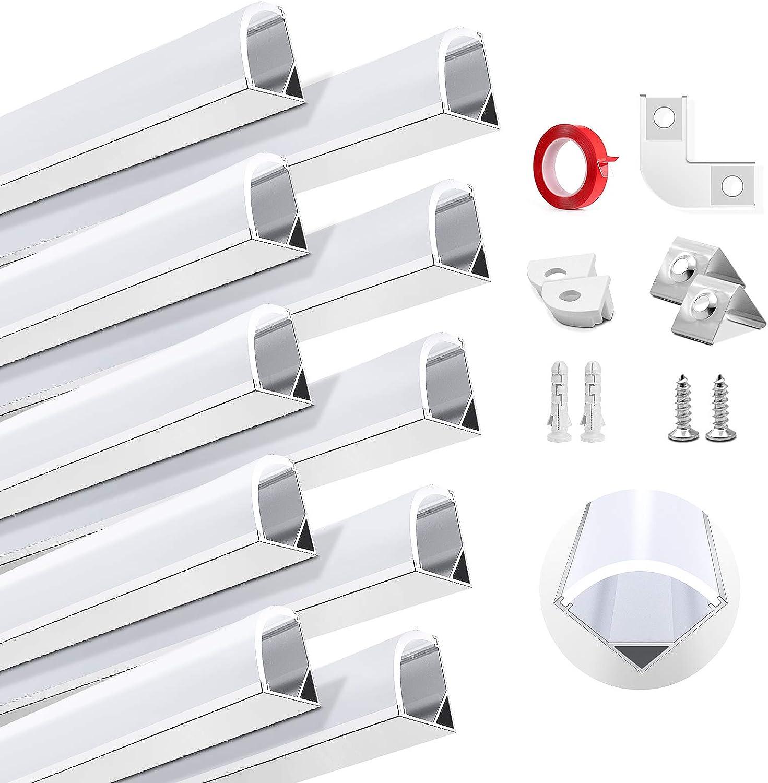 HOMMAND 10 Piezas x1m/3,3 pies Canal de aluminio LED, Perfil para Tiras de LED, Tapa Tira LED con tapas finales, Clips de montaje y adhesivo, 10 Paquete Perfil de Aluminio para LED de 10m (forma de V)