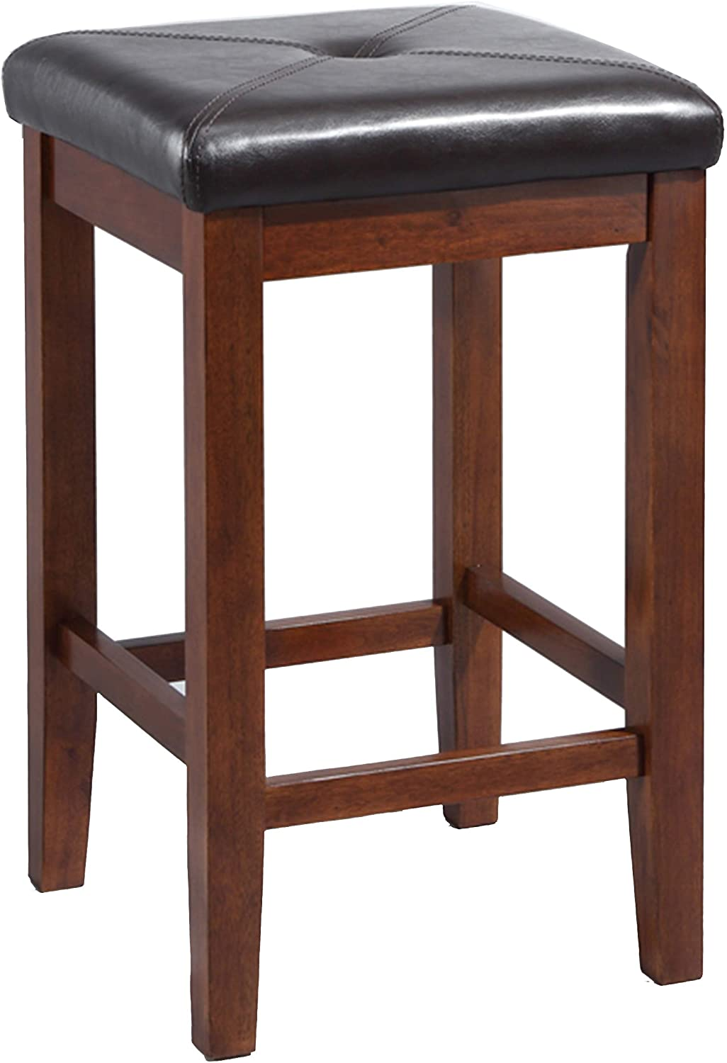 Crosley Furniture CF500524-MA Upholstered Square Seat Bar Stool (Set of 2), 24-inch, Vintage Mahogany