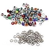 Metall Ösen, 4 mm / 0,16 Zoll Runde Form 100 Stück Metallic Scrapbooking Ösen Unterlegscheiben Leder Craft Bekleidung Taschen Zubehör(Verschiedene Farben)