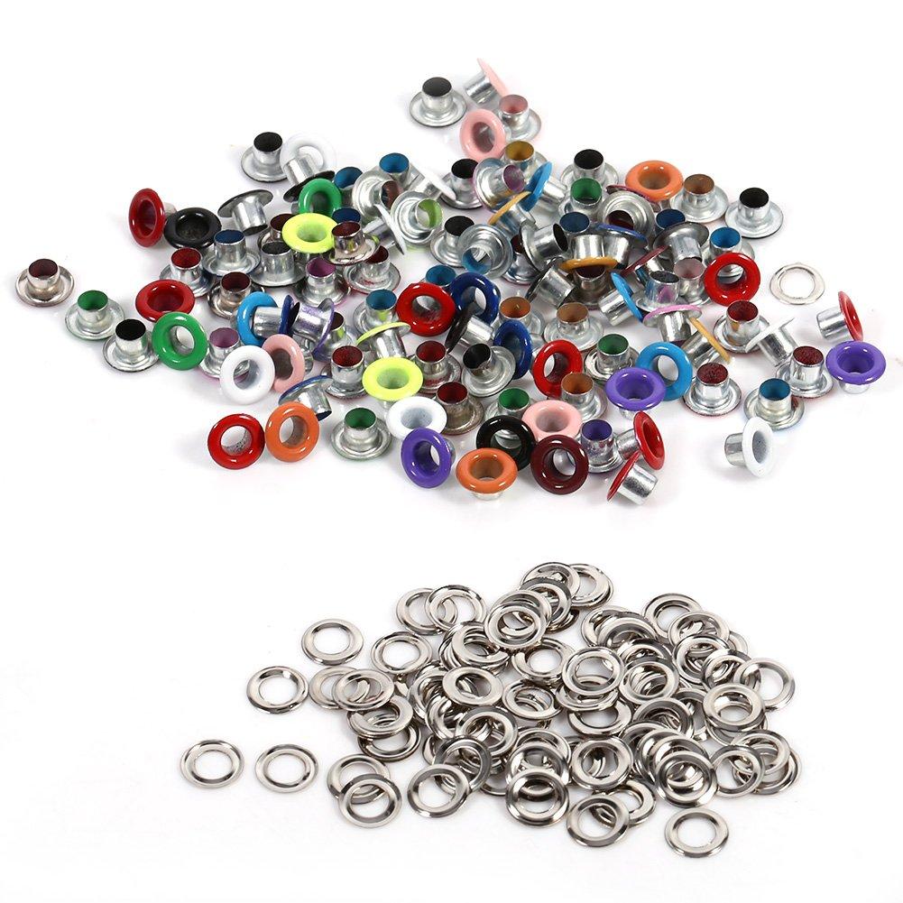 100 Sä tze Runde Metallö sen Scrapbooking Karte Loch Leder Handwerk Bekleidungszubehö r 4mm(Mischfarbe) Hilitand