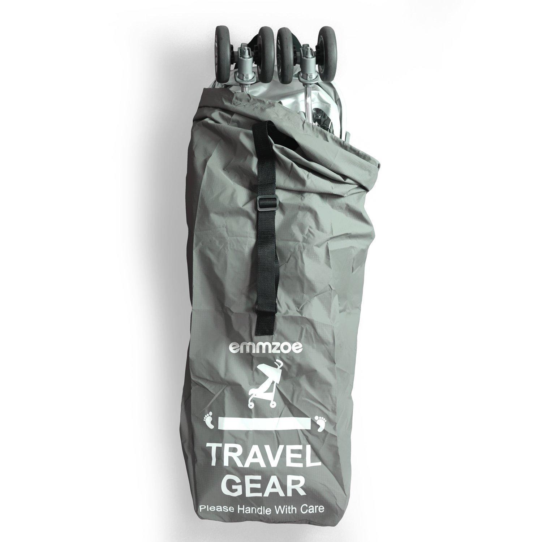 Emmzoe Premium Umbrella Stroller Airport Gate Check Travel Storage Bag Features Durable Nylon, Foldable Pouch, Hand/Shoulder Strap (Gray)