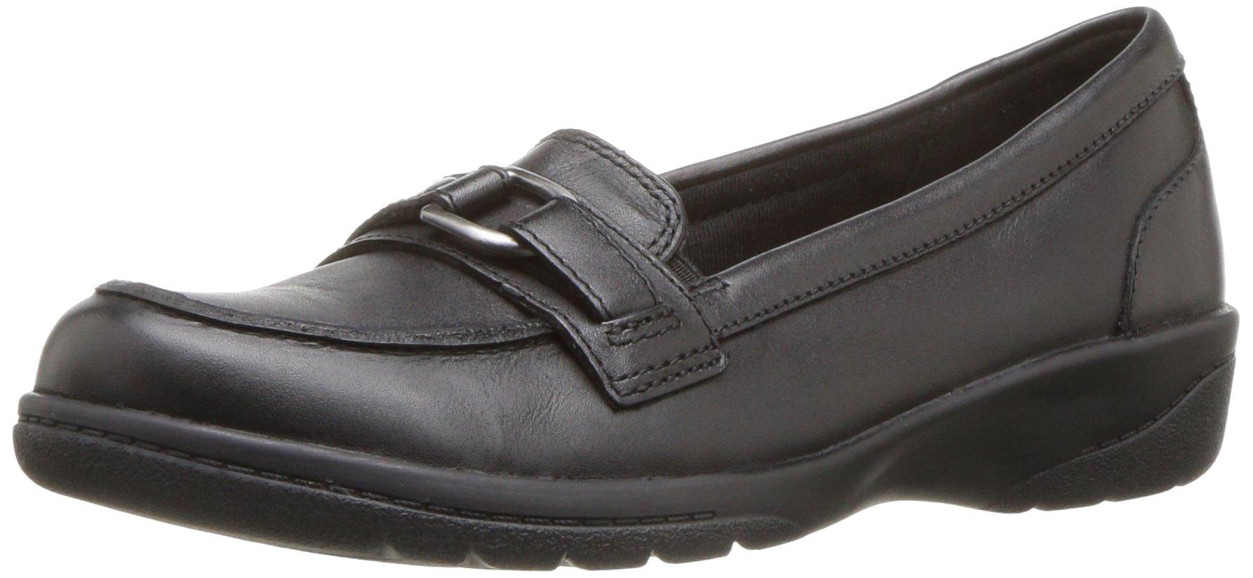 CLARKS Women's Cheyn Marie Slip-on Loafer, Black Leather, 11 M US