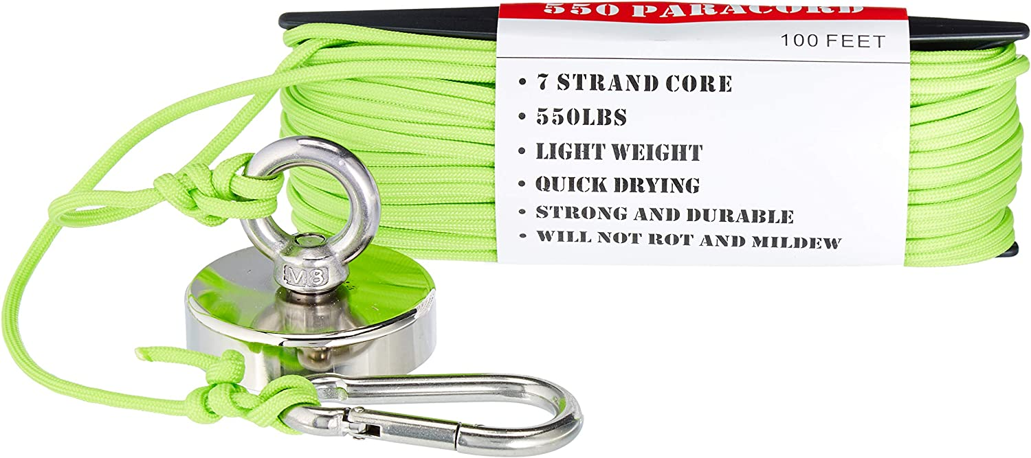 """Magnet Fishing Kit """"The Green Grabber"""" Fully Assembled Super Strong Magnet Neodymium 325 lbs Force with Factory Locked Eye Bolt Threads 100 ft of 550 Paracord and Snap Clip for Safe Attachment"""
