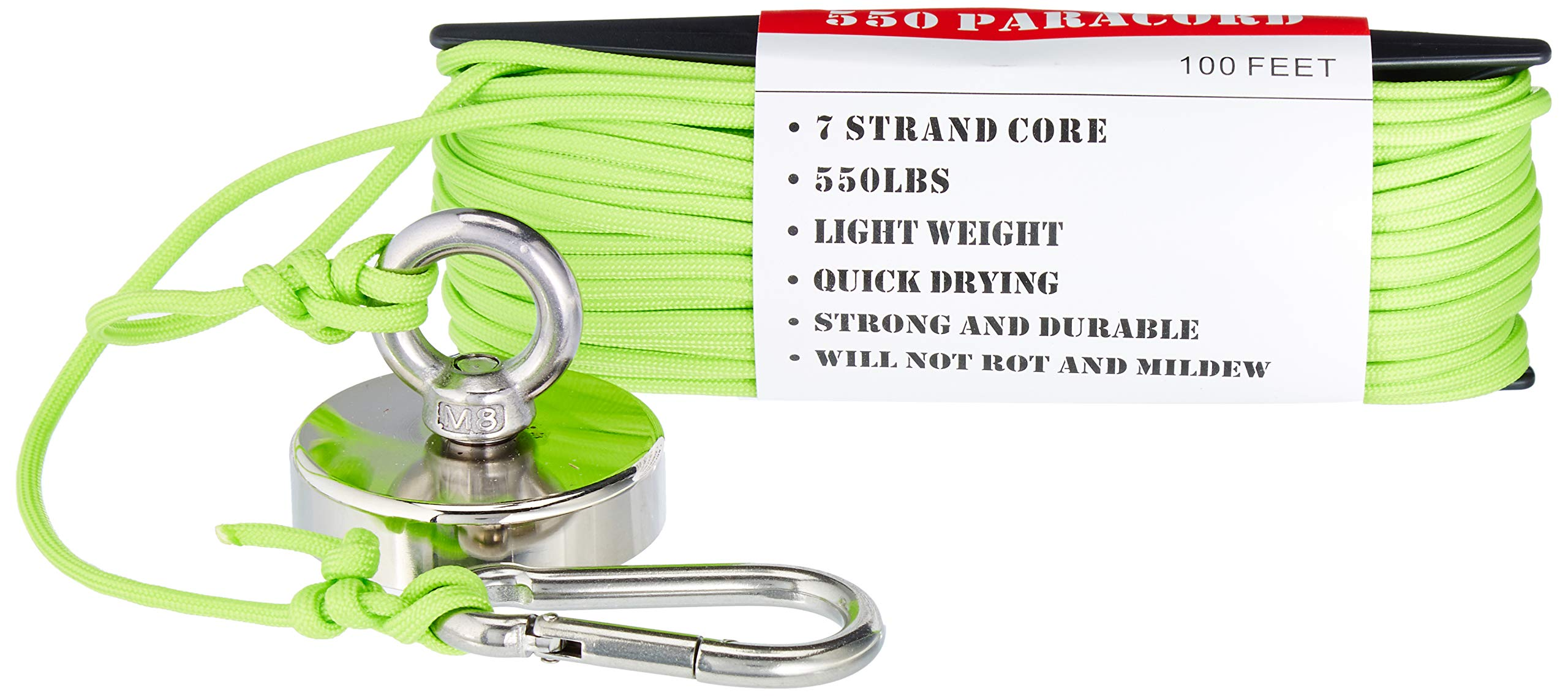 Magnet Fishing Kit ''The Green Grabber'' Super Strong Neodymium Magnet 325 lbs Force with Locked Eyebolt Threads 100 ft of 550 Paracord and Snap Clip for Safe Attachment