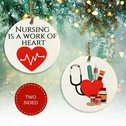 Nurse Christmas Ornament - Nursing is a Work Of Heart with Heartbeat Design  - Ceramic Disk - Amazon.com: Nurse Christmas Ornament - Nursing Is A Work Of Heart