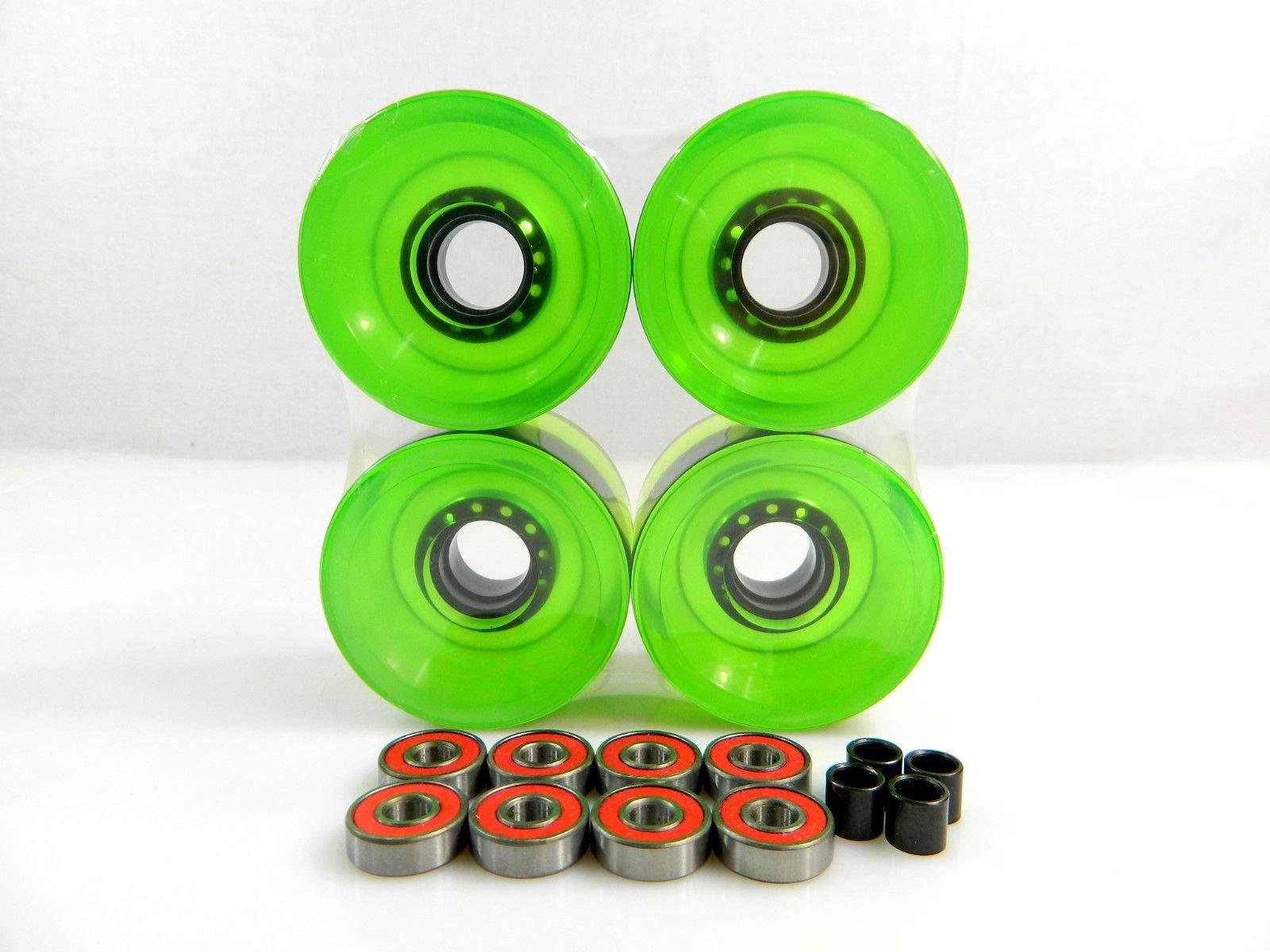 Good Skateboard Clear Green Blank 70Mm Longboard Cruiser Multi Clear Color Wheels + ABEC 7 Bearing + Spacers
