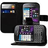 kwmobile カードと名刺入れ付き財布型ケース スタンド機能有り Blackberry Q10用 黒色 -