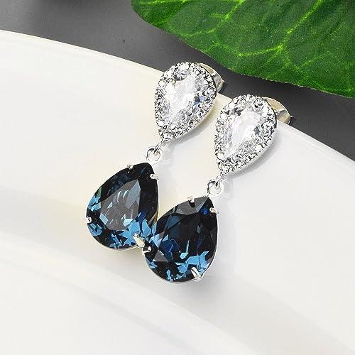 d57b52f929b88 Amazon.com: Navy Blue Crystal Bridal Earrings Silver - Swarovski ...