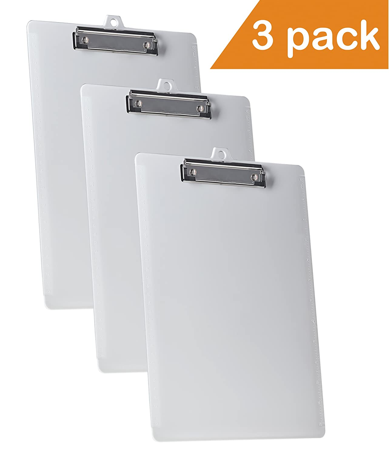 Acrimet Clipboard Letter Size A4 Low Profile Clip (White Color) (3 Pack) 1341.6