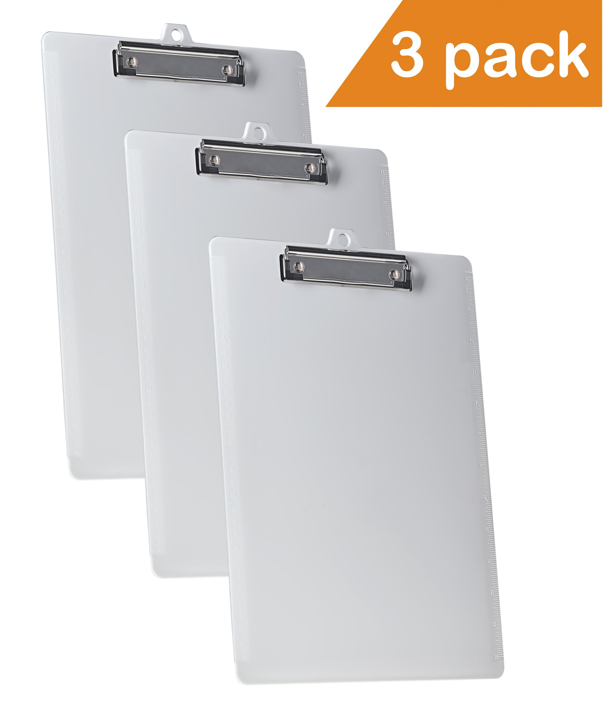 Acrimet Clipboard Letter Size Low Profile Clip (White Color) (3 - Pack)