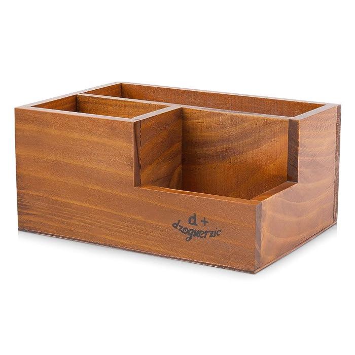 Flexzion Wooden Desktop Storage Organizer/Remote Control Caddy Holder Wood Box Container for Desk, Office Supplies, Home, End Table Sorter Shelf Rack Stationary Storage Decorative Accessories