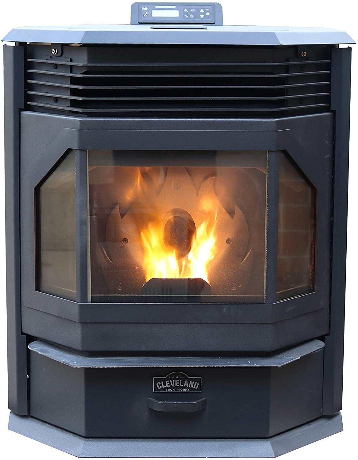 Cleveland Iron Works PSBF66W-CIW Bayfront Pellet Stove, WiFi Enabled, Black