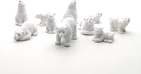Resin Mini Seal Iceberg Snowflakes Cake Toppers Antarctic Set for Succulent Planter Moss Landscape DIY Terrarium Penguin Miniature Figurines
