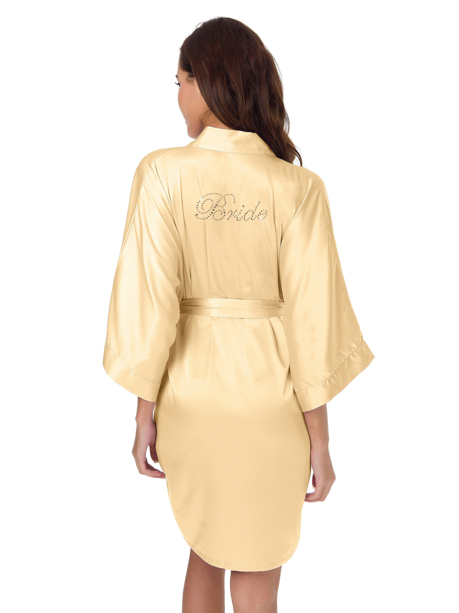 SIORO Robe, Womens Robe, Soft Satin Robe Short, Bride Wedding Party Nightgown, Sleepwear Solid, Champagne, S