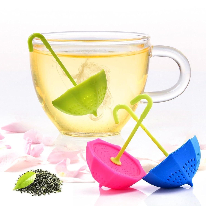 Ruesious Tea Bag 3 Pack Colorful Genuine Premium Silicone Umbrella Reusable Tea Ball Infuser Strainer Steeper Set for Loose Leaves /& Herbal Teas-Great Gift for Tea Lovers c