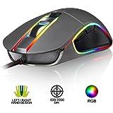 KLIM AIM Chroma RGB Gaming Mouse - NEU - PRÄZISE - Kabel-USB - 500 bis 7000 DPI einstellbar - Programmierbare Tasten - Bequem für alle Handgrößen - Beidhändiger Griff Gamer Gaming