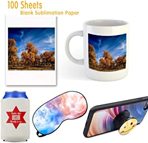 Sublimation Paper 100 Sheets Sublimation Ink Transfer Paper 8.27x11.7 inches for Heat Transfer Mug,T-shirt,Light Fabric DIY