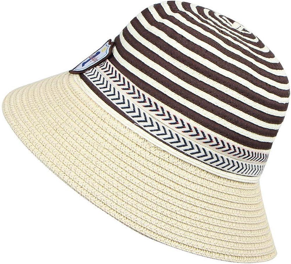 UCQueen Sun Hat Breathable Bucket Hat Cute Kids Stripe Number Straw Sun Hat Children Summer Beach Caps Fisherman Hat