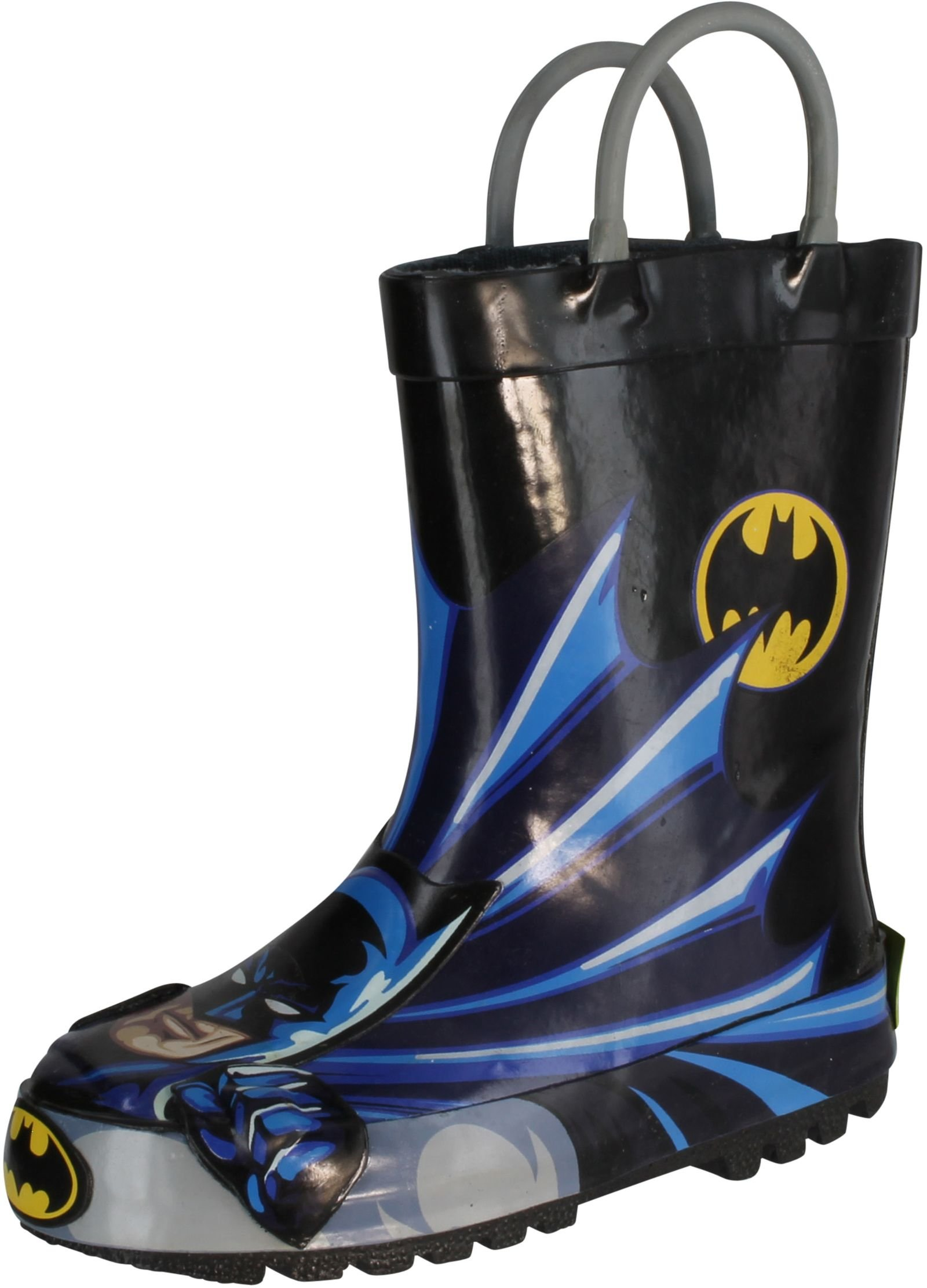 Western Chief Kids Waterproof D.C. Comics Character Rain Boots with Easy on Handles, Batman, 8 M US Toddler