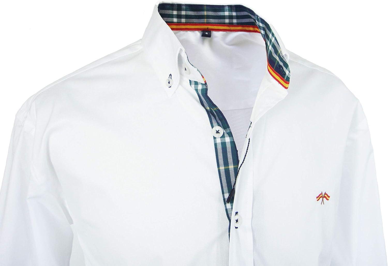Pi2010 Camisa Bandera de España Hombre Blanco con Cuadro escoces ...