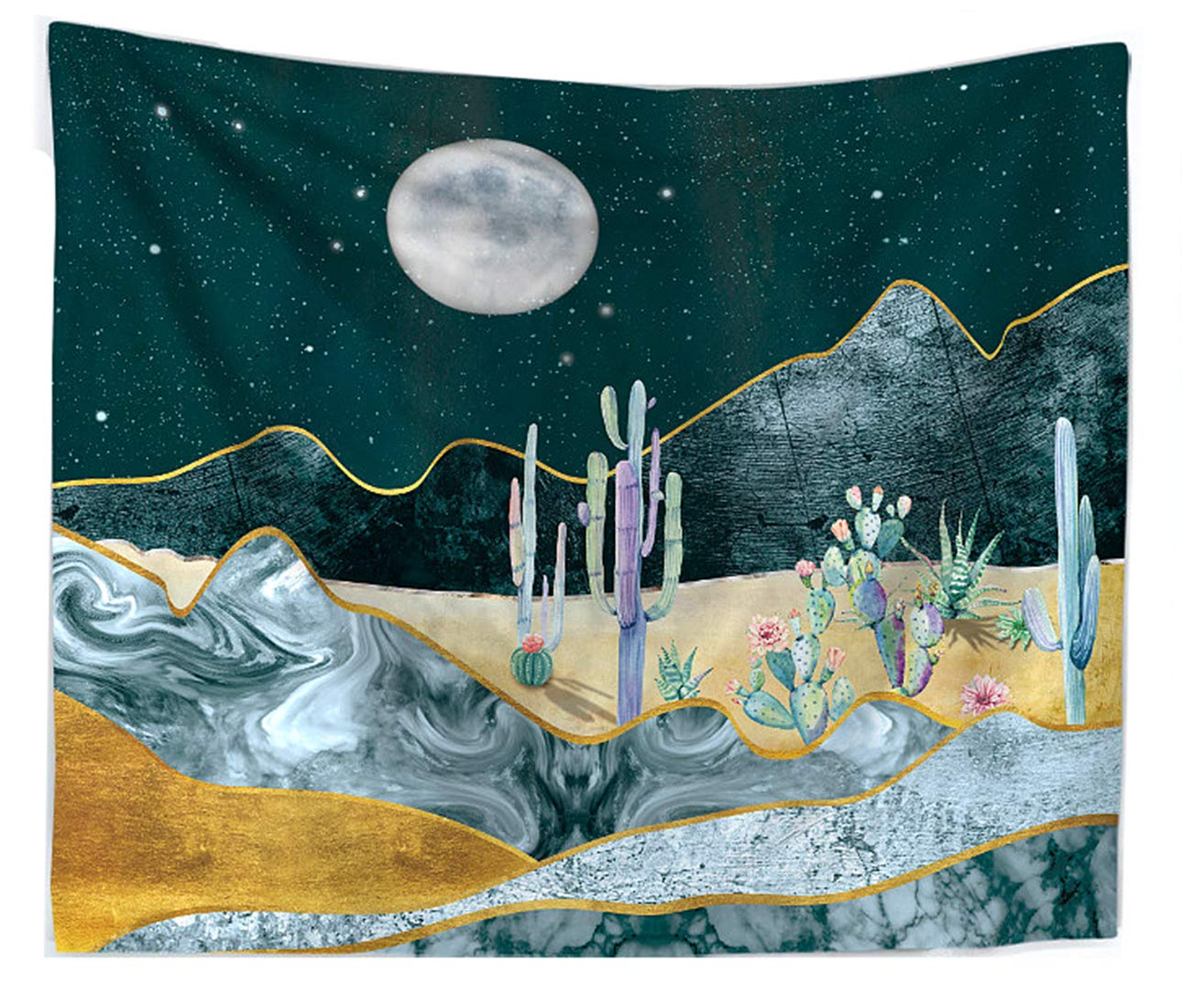 """LIGICKY Moon and Cactus Tapestry Nature Landscape Wall Hanging, Watercolor Mountain Desert Plant Printed Wall Art Tapestries Home Decor for Living Room Bedroom Dorm, 78.7"""" x 58.3"""""""