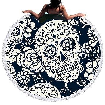 54655cbdc920d Stillshine Serviette Plage Ronde Mandala Épaisse Tapisserie Microfibre Avec  Frange Ultra-épais Mat Yoga Hippie