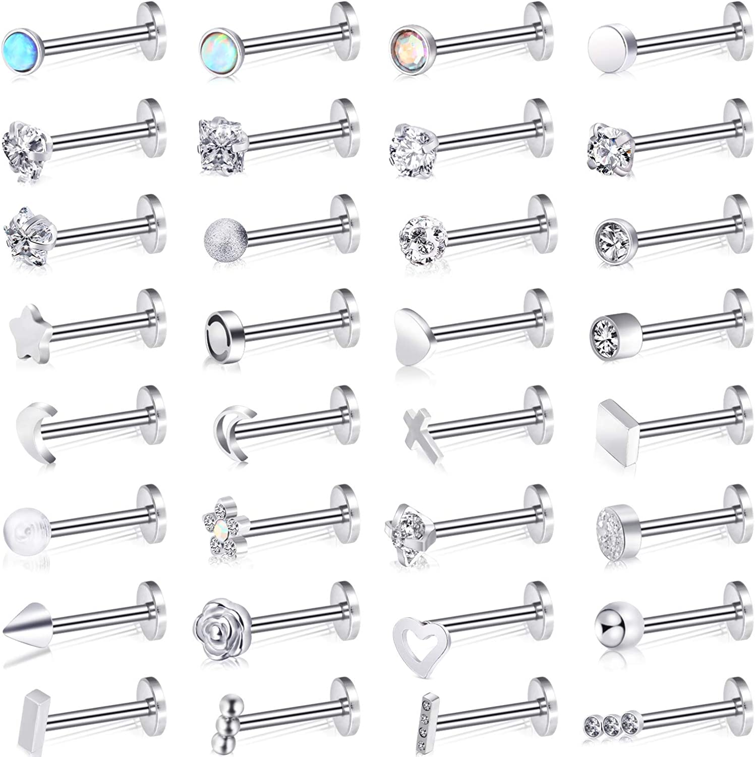 32 Pieces Stainless Steel Cartilage Labret L-Shaped Nose Studs C-Shaped Nose Earrings for Women Men