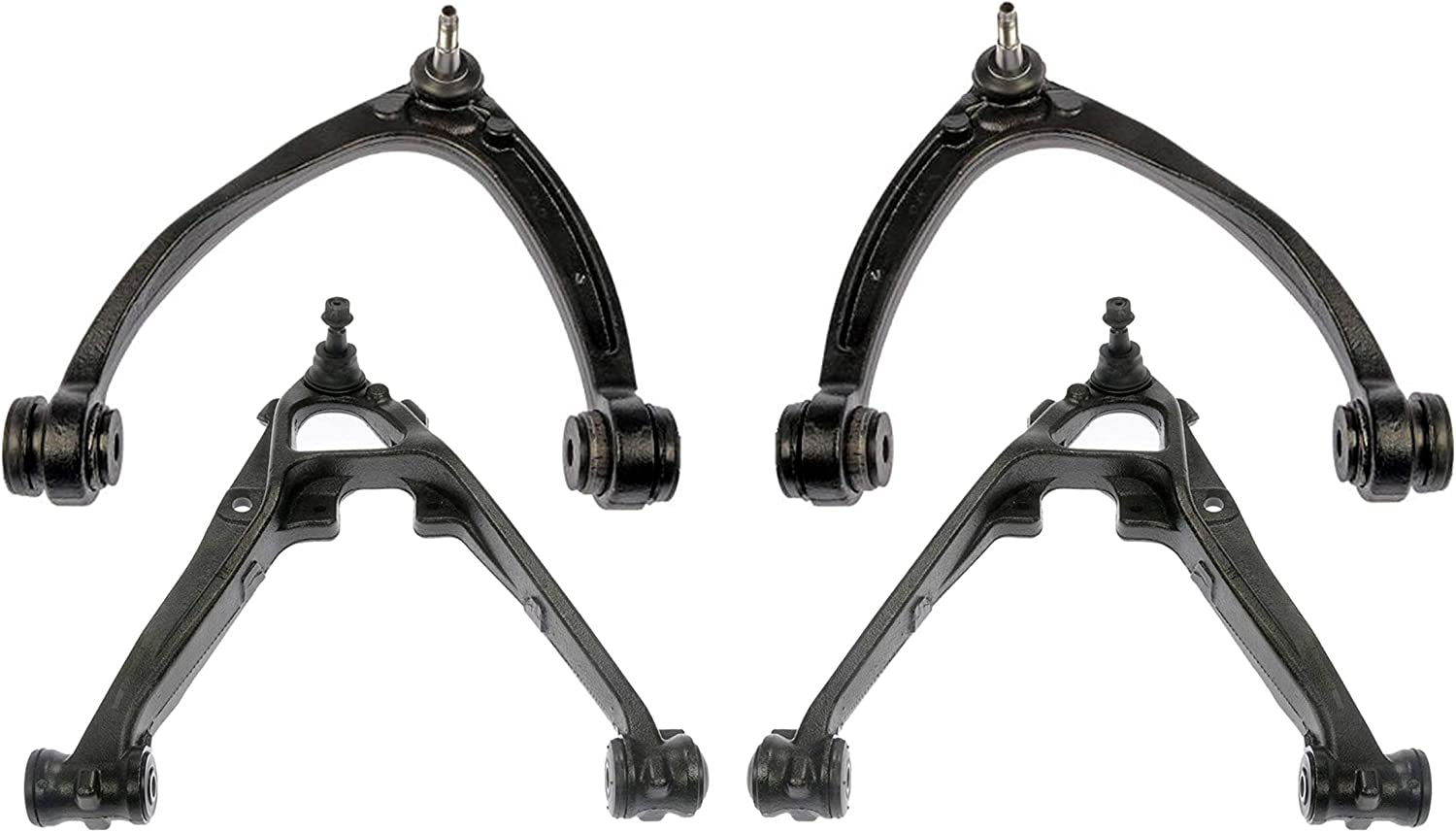Detroit Axle - GMC Sierra Yukon NOT FOR OFF-ROAD SUSPENSION MODELS Chevy Avalanche Silverado Suburban Tahoe 4pc Front Upper and Cast Iron Lower Control Arms Kit for Cadillac Escalade -