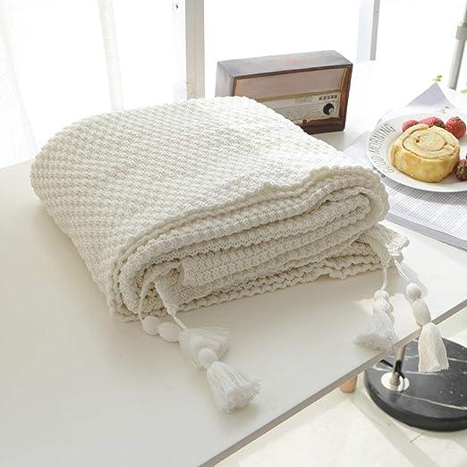 MYLUNE HOME 100% Algodón Lujo Tejer Elegante Manta de Punto Cobertura para ver la televisión en la silleta, sofá y cama, las dos caras cubiertas ...