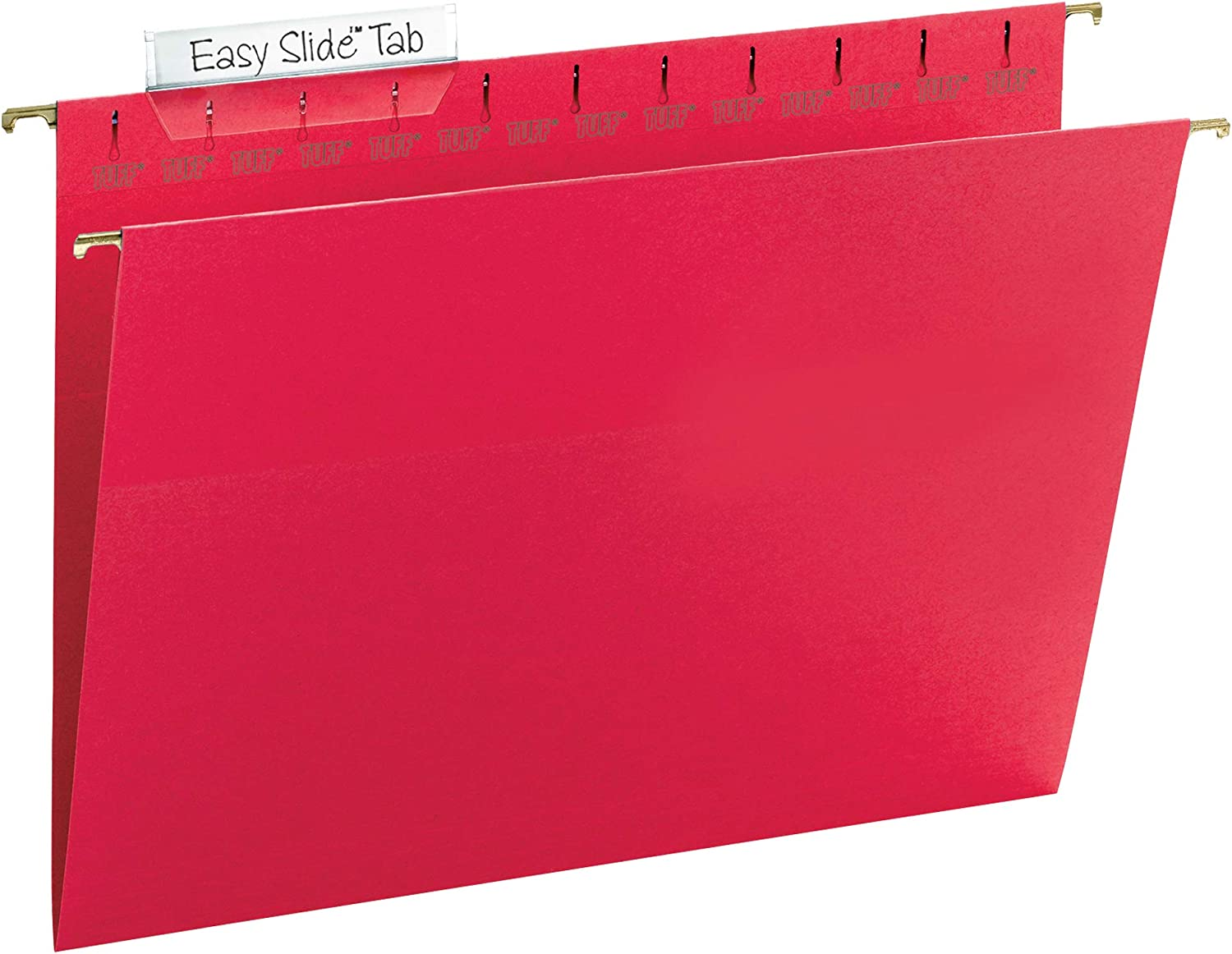 Smead TUFF Hanging File Folder with Easy Slide Tab, 1/3-Cut Sliding Tab, Letter Size, Red, 18 per Box (64043, Rod Color May Vary)
