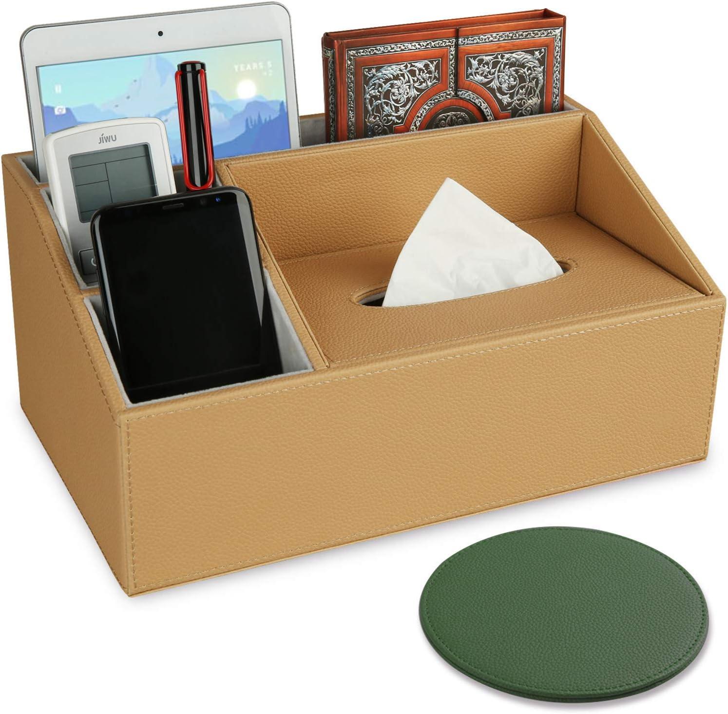 Sunewlx Desk Organizer/Tissue Box, Handmade Premium Leather Desktop Organizer with Tissue Box for a Neat Workspace office & home, 4 Compartments & Large Capacity (Khaki - Tissue Box)