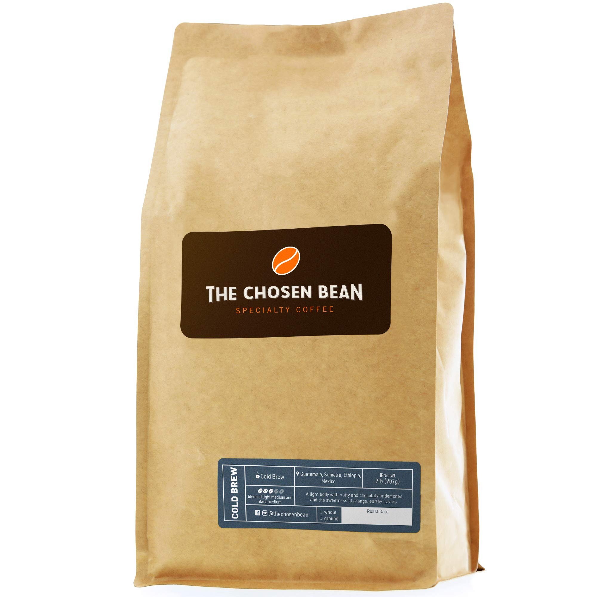 The Chosen Bean Premium Artisan Cold Brew Whole Coffee Beans, Small Batch Roasted, Organic and Fair Trade Roasters, 2 lbs