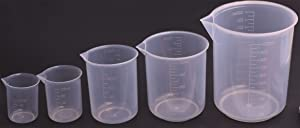 Shapenty 5 Sizes 50ml / 100ml /250ml /500ml /1000ml Capacity Clear Plastic Graduated Measuring Beaker Set Liquid Cup Container, 5PCS