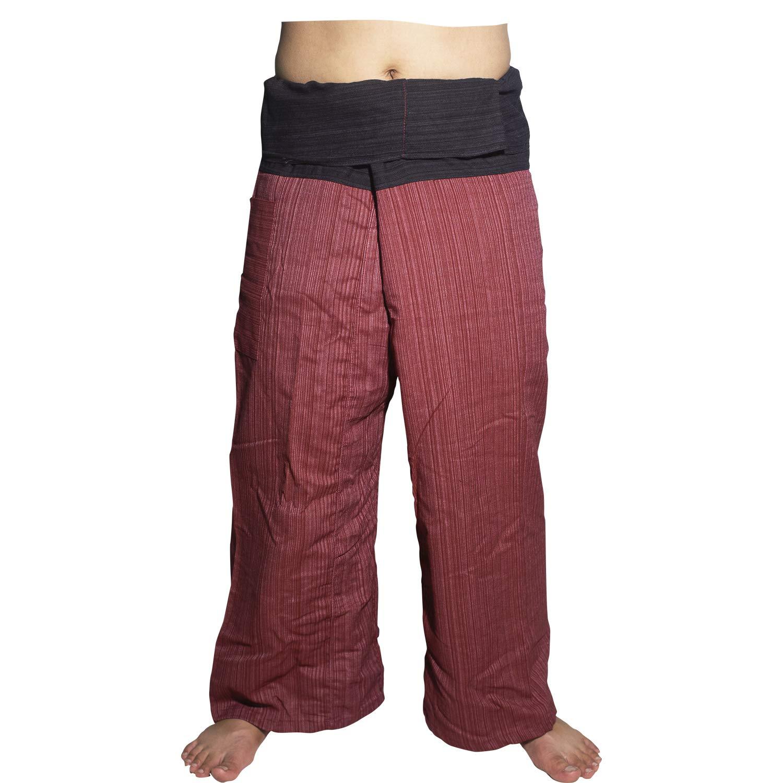 Red and Black 2 Tone Thai Fisherman Pants Yoga Trousers Free Size Cotton