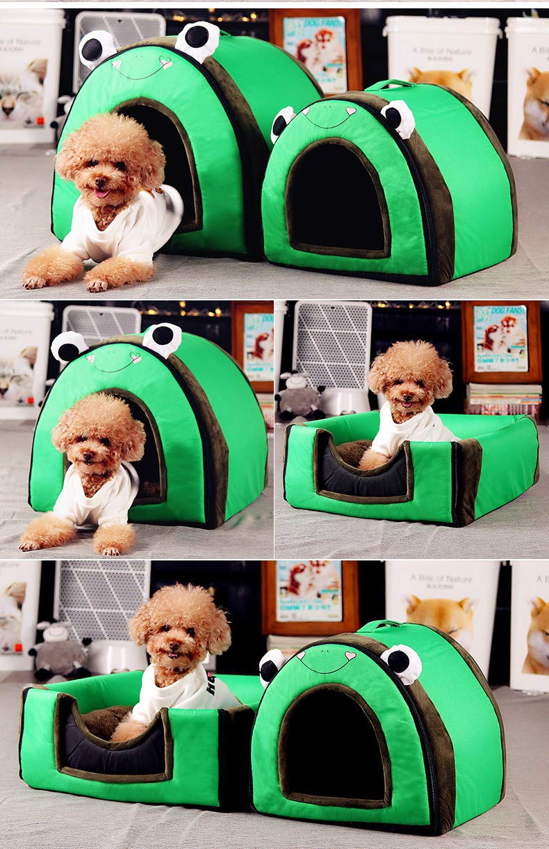 YSYPET Cuatro temporadas universales 2 en 1 cálido, patrón de rana L, 60X48X43CM Warm Pet Soft Nest Kennel Puppy House Felpa Dog Cat Bed Mascota Casa y Sofá ...