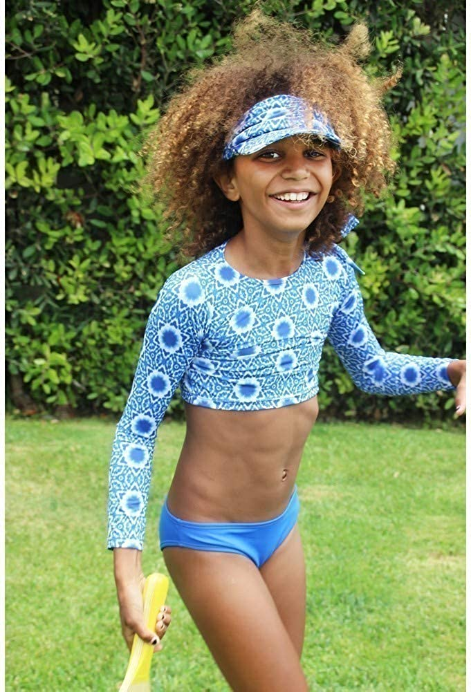 Azul Little Girls Blue White Namaste Tankini 2 Pc Swimsuit 4-6